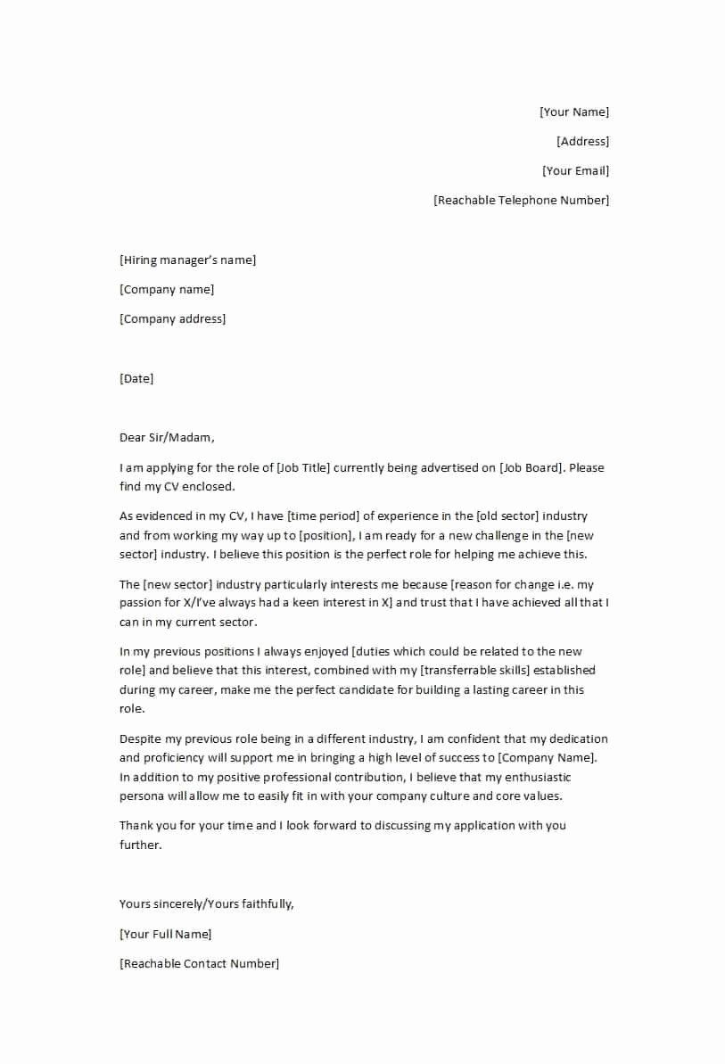 Career Change Cover Letter Samples Luxury 39 Professional Career Change Cover Letters Template Lab