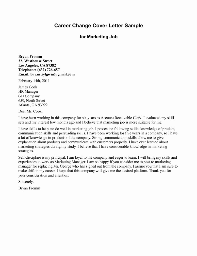 Career Change Cover Letters New Cover Letter Template Career Change Resume