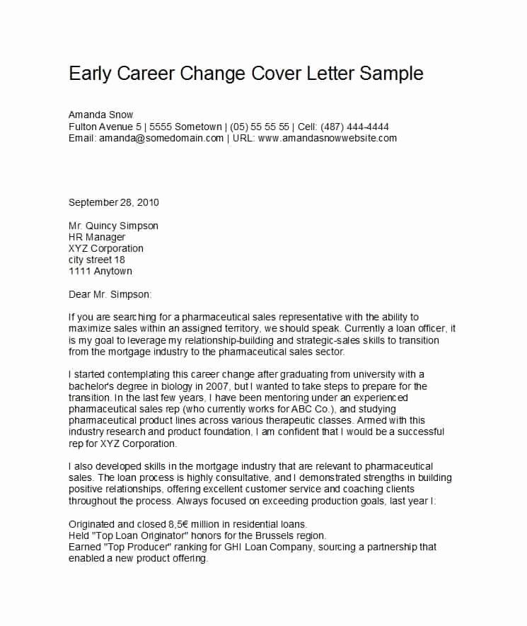 Career Change Cover Letters Unique 39 Professional Career Change Cover Letters Template Lab