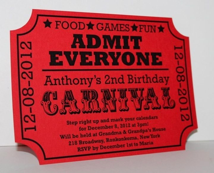 Carnival Invitation Templates Free Awesome Carnival Birthday Ticket Invitation