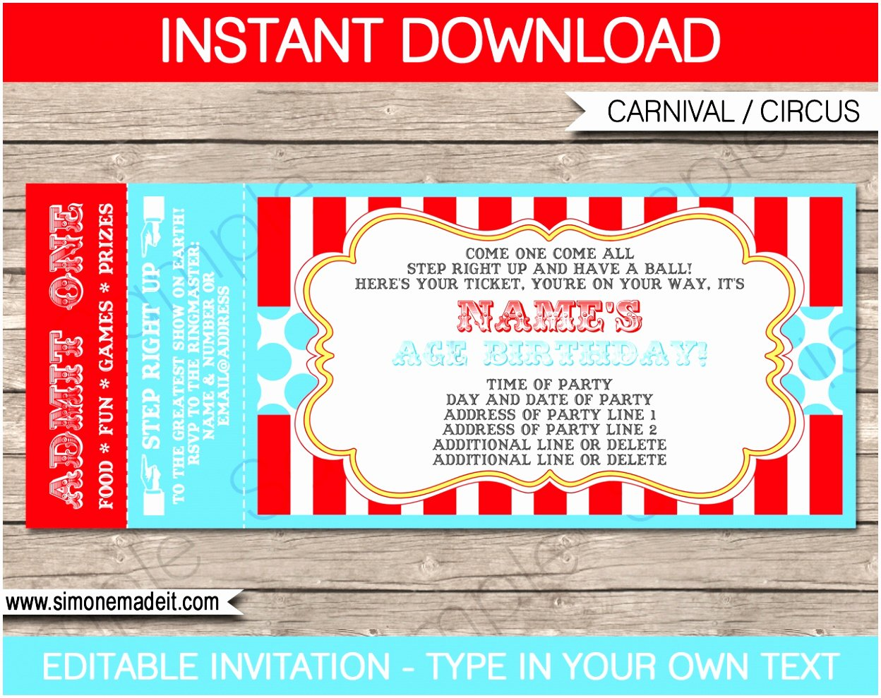Carnival Invitation Templates Free Beautiful 12 Carnival Ticket Invitation Template Prwtv