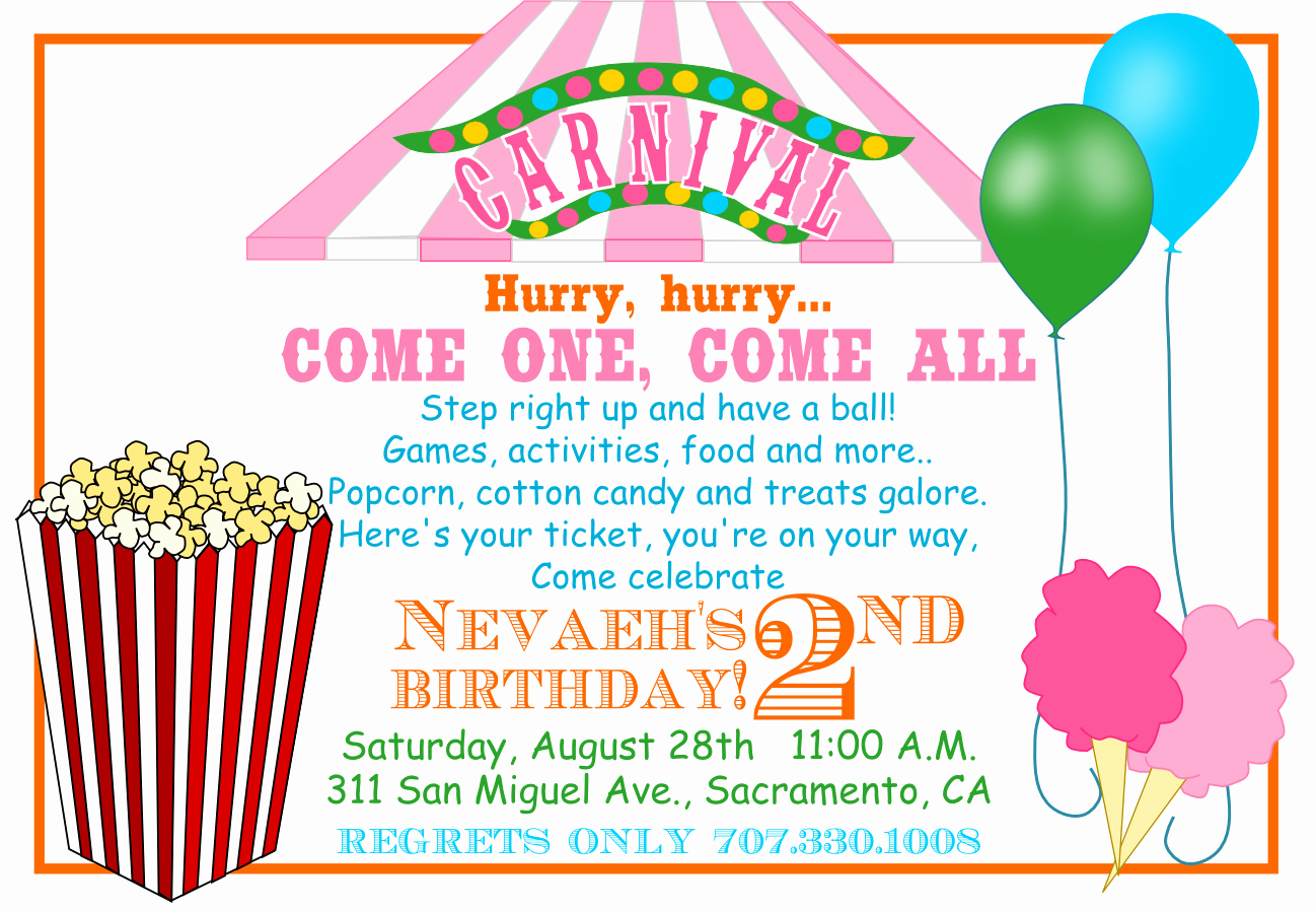 Carnival Invitation Templates Free Best Of 40th Birthday Ideas Carnival Birthday Invitation Template