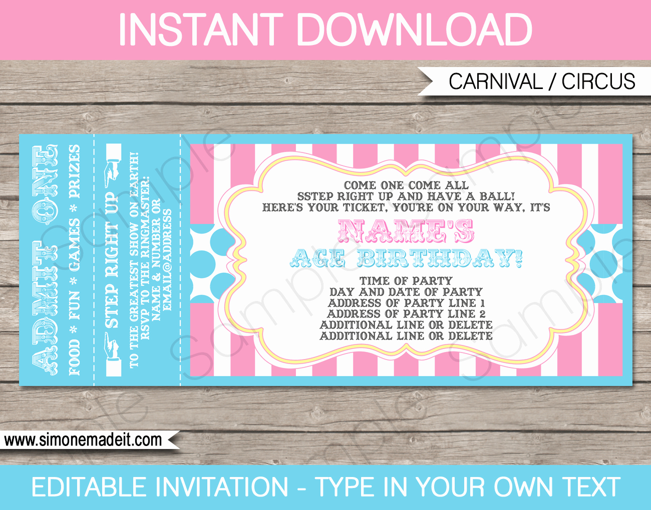 Carnival Invitation Templates Free Best Of Carnival Party Ticket Invitations Template