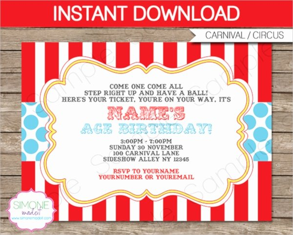 Carnival Invitation Templates Free Elegant 14 Circus Party Invitations Psd Vector Eps