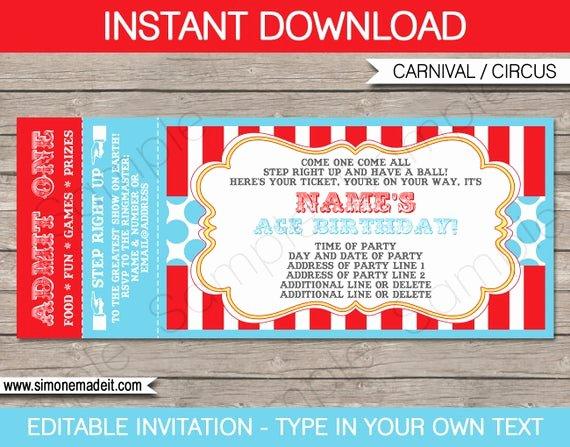 Carnival Invitation Templates Free Inspirational Circus Ticket Invitation Template Carnival Party Circus