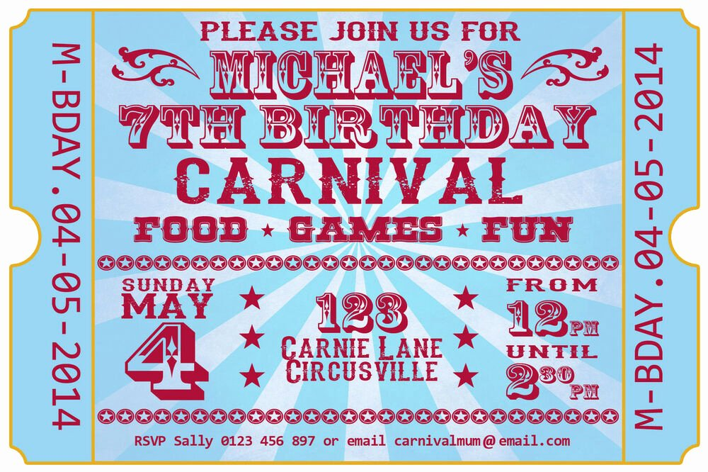 Carnival Invitation Templates Free Lovely Carnival Festival Ticket Birthday Party Invite Invitation