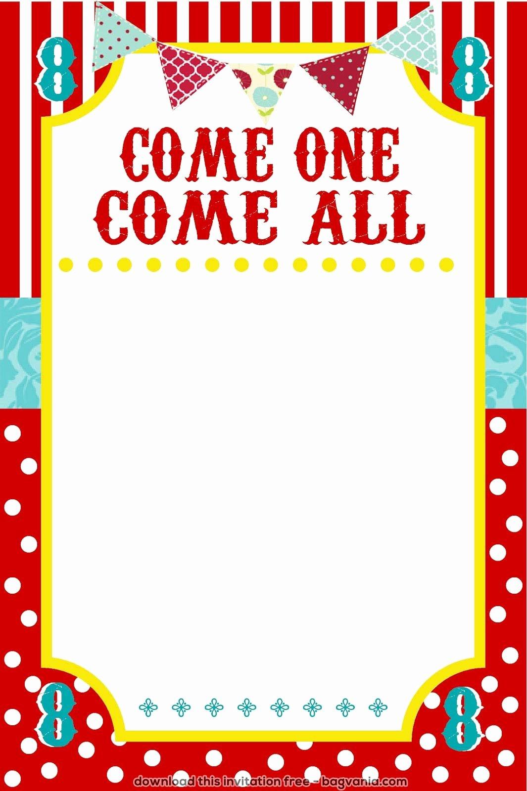 Carnival Invitation Templates Free Lovely Free Carnival Birthday Invitations – Free Printable