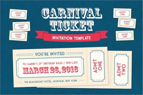 Carnival Invitation Templates Free Unique 38 Ticket Invitation Templates Psd Eps Ai