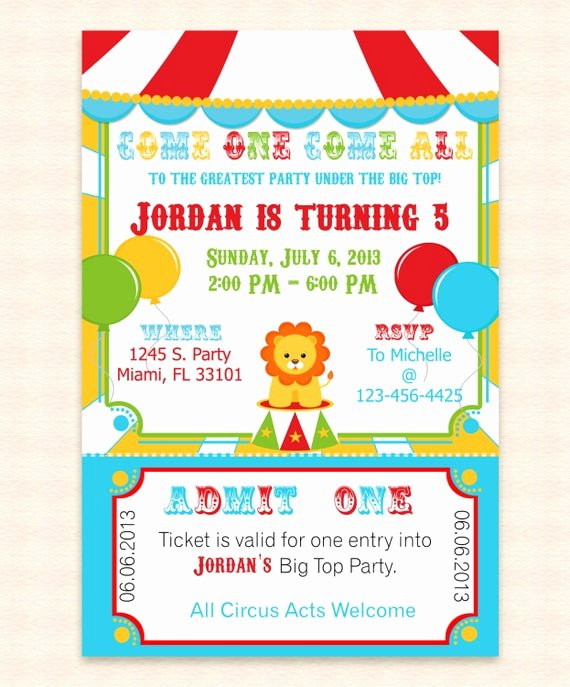 Carnival Invitation Templates Free Unique Big top Circus Printable Invitation Design by Mydiydesigns