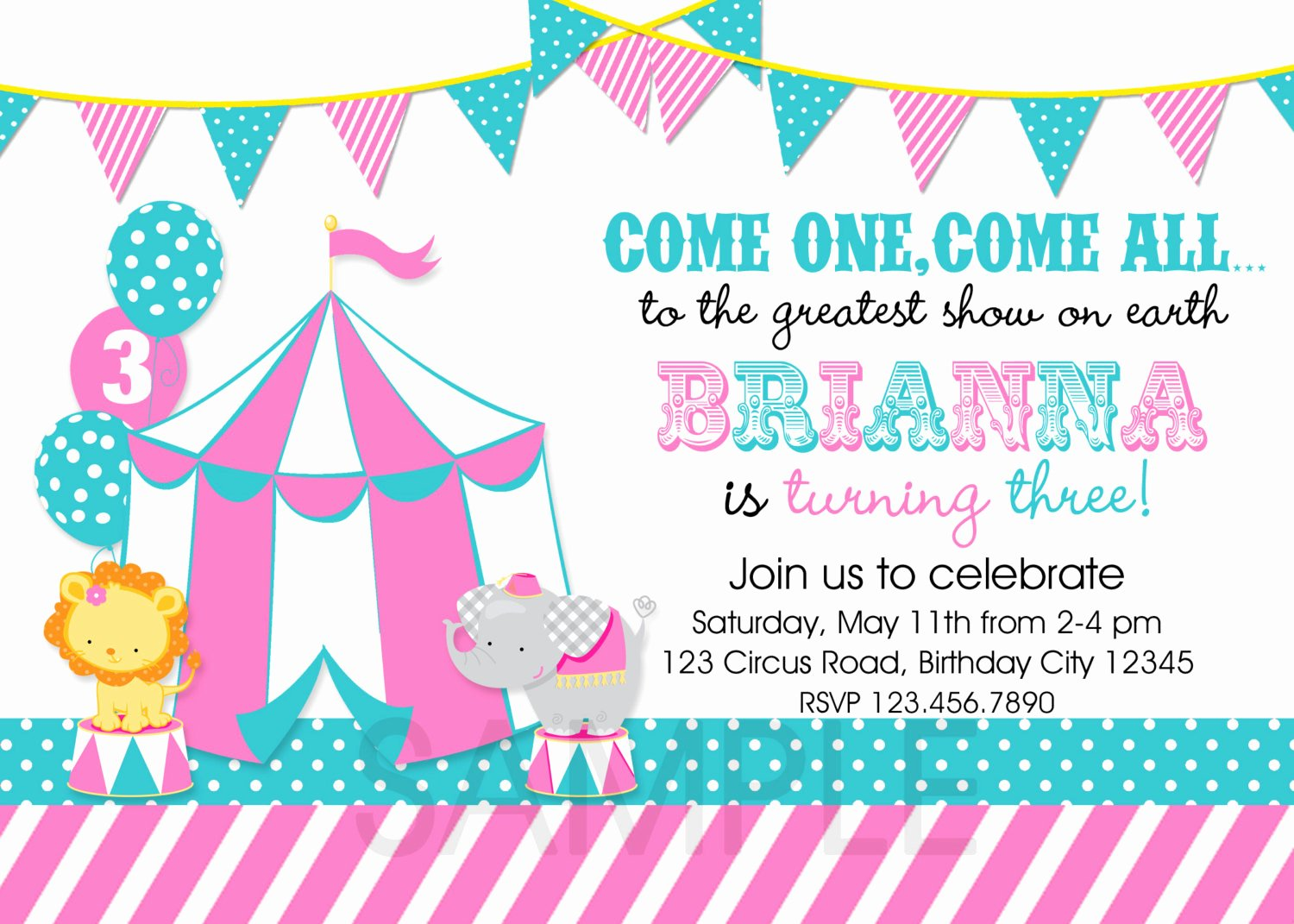 Carnival theme Party Invitations Awesome Circus Birthday Invitation 1st Birthday by thetrendybutterfly