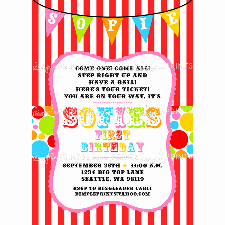 Carnival theme Party Invitations Best Of Circus Carnival Birthday Printable Invite Dimple Prints Shop