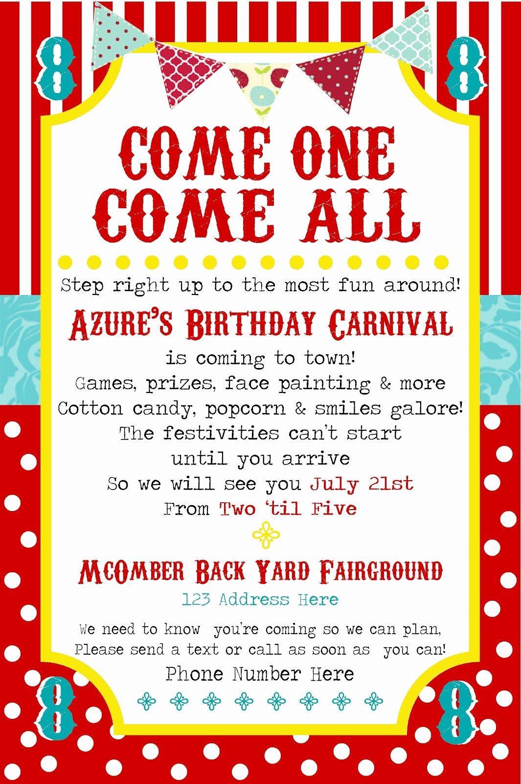 Carnival theme Party Invitations Elegant Simplycumorah July 2012