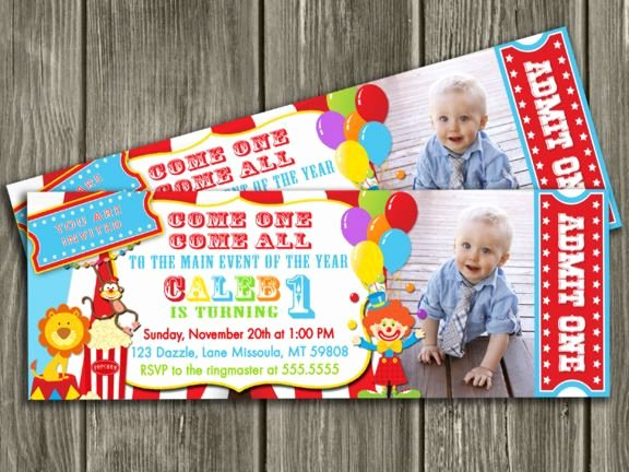 Carnival theme Party Invitations Fresh Printable Circus Ticket Birthday Invitation