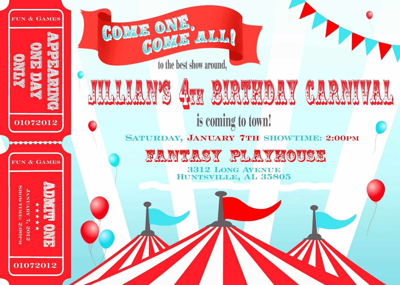 Carnival theme Party Invitations Inspirational Two Plus Jilly Carnival 4th Birthday Party