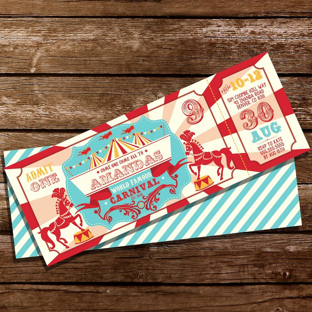 Carnival theme Party Invitations Luxury Backyard Carnival Party Ticket Invitation