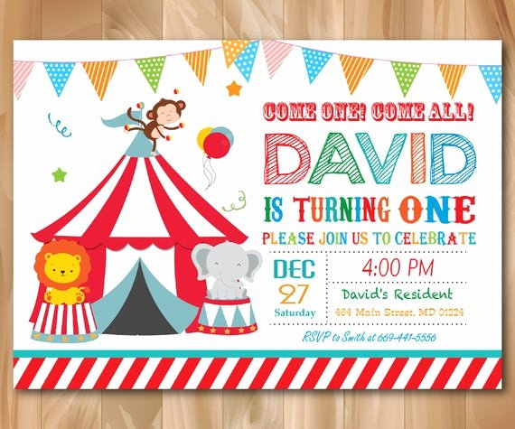 Carnival theme Party Invitations Luxury Circus Birthday Invitation Circus Birthday Party Invite