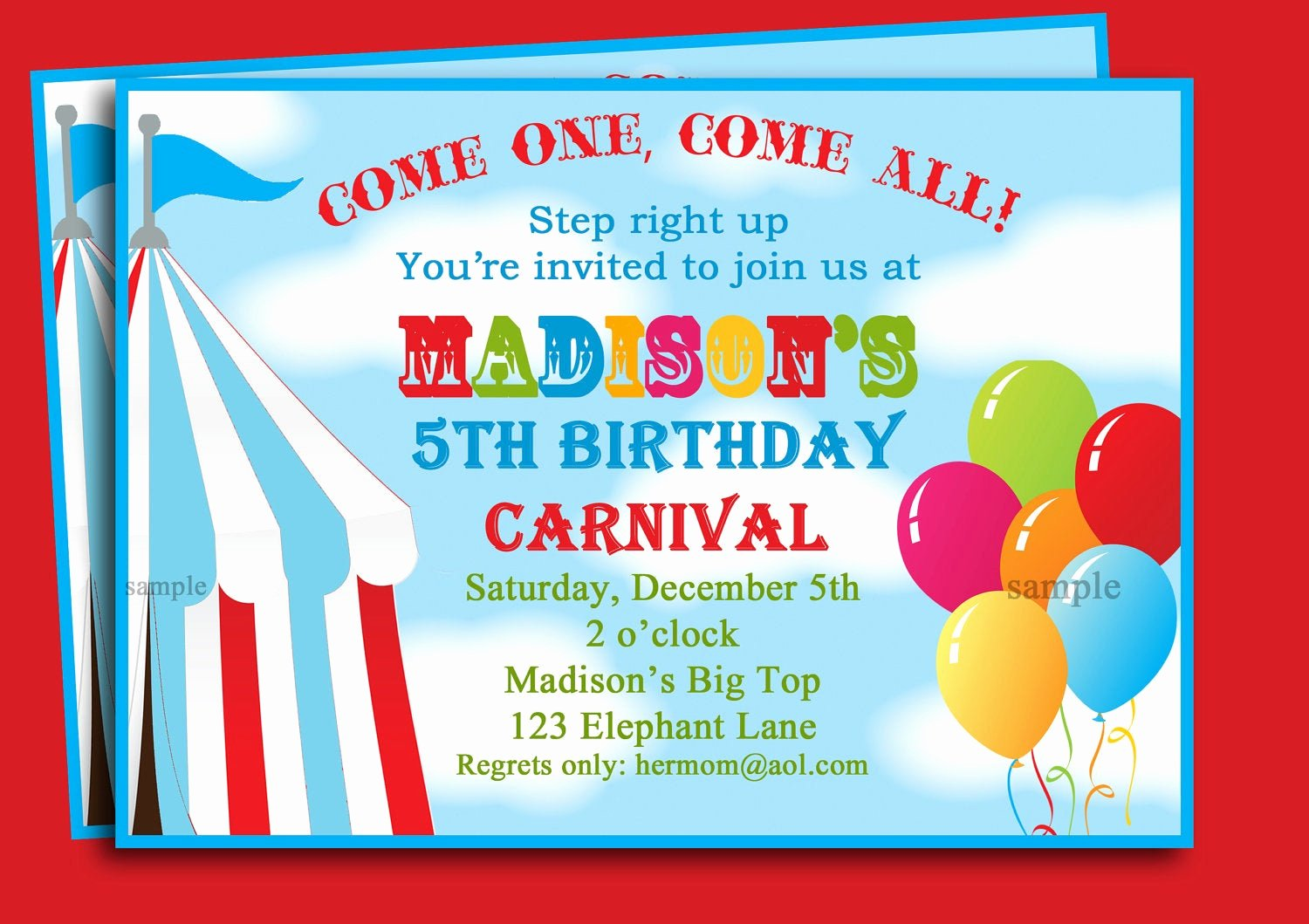 Carnival theme Party Invitations Luxury Circus Carnival Birthday Invitation Printable or Printed with