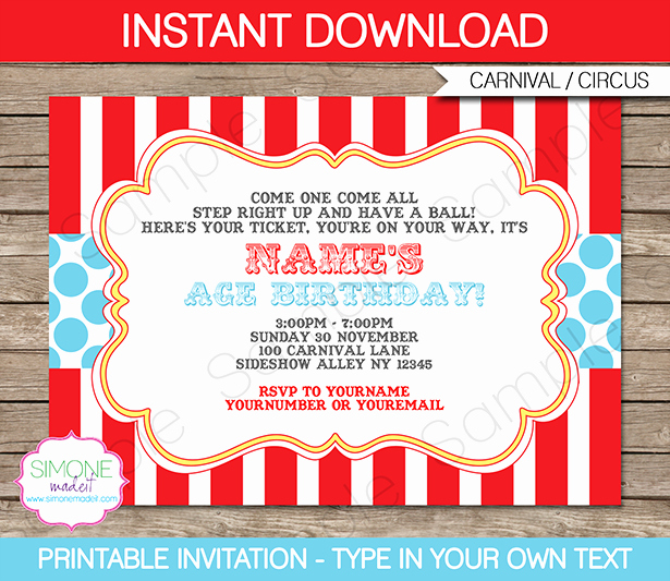 Carnival theme Party Invitations Luxury Circus Invitation Template Red Aqua