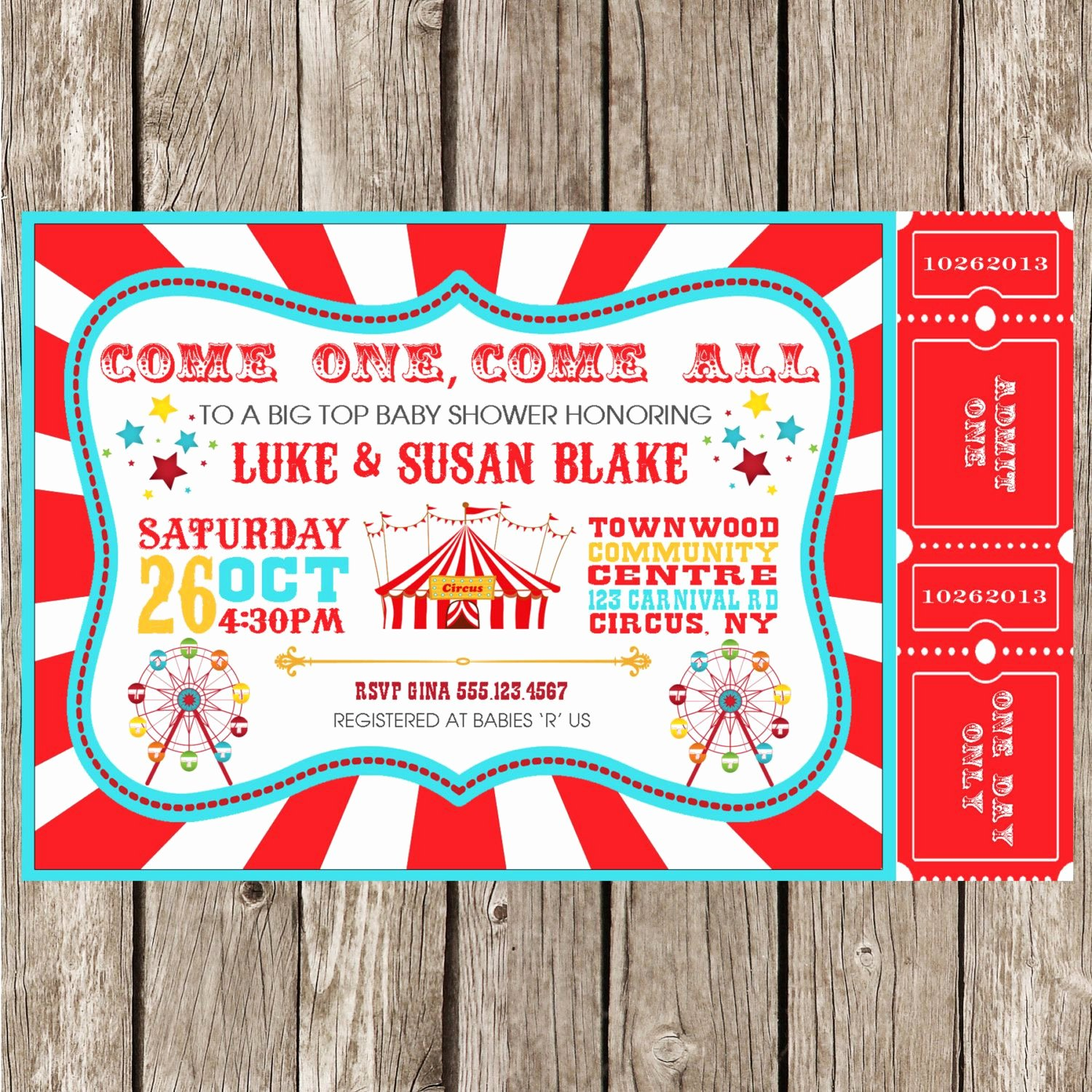 Carnival theme Party Invitations New Vintage Circus Carnival Invitation Baby Shower