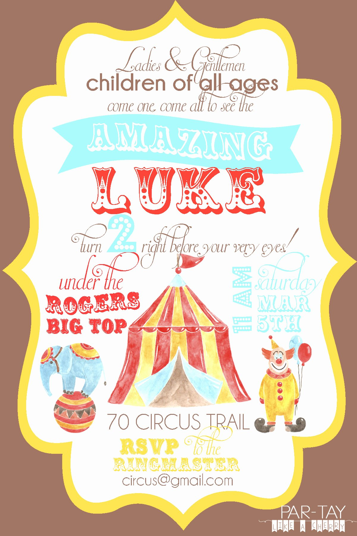 Carnival theme Party Invitations Unique Free Circus Birthday Invitation Party Like A Cherry