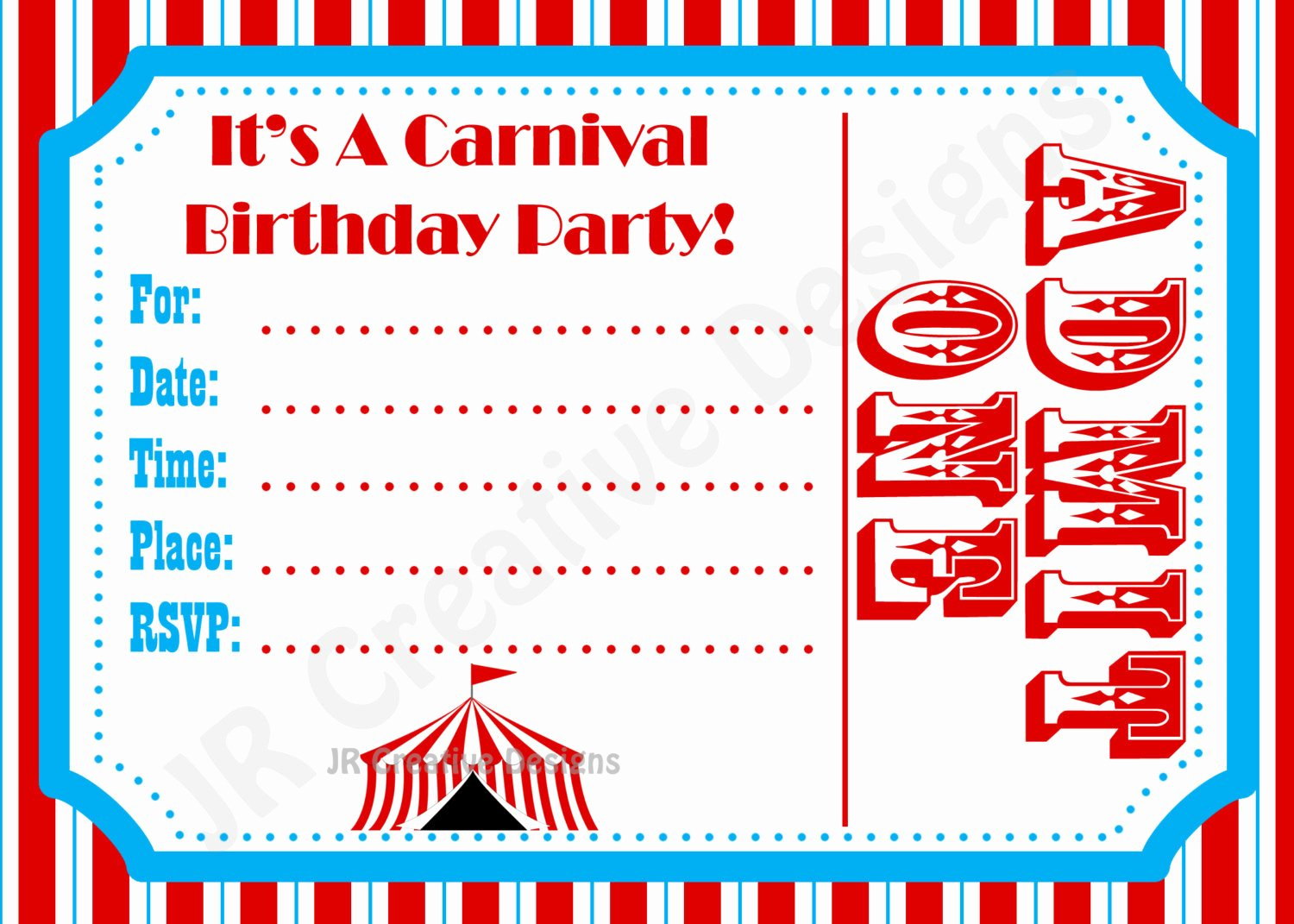 Carnival Ticket Birthday Invitations Awesome Carnival Invite Circus Invite Circus by Jrcreativedesigns