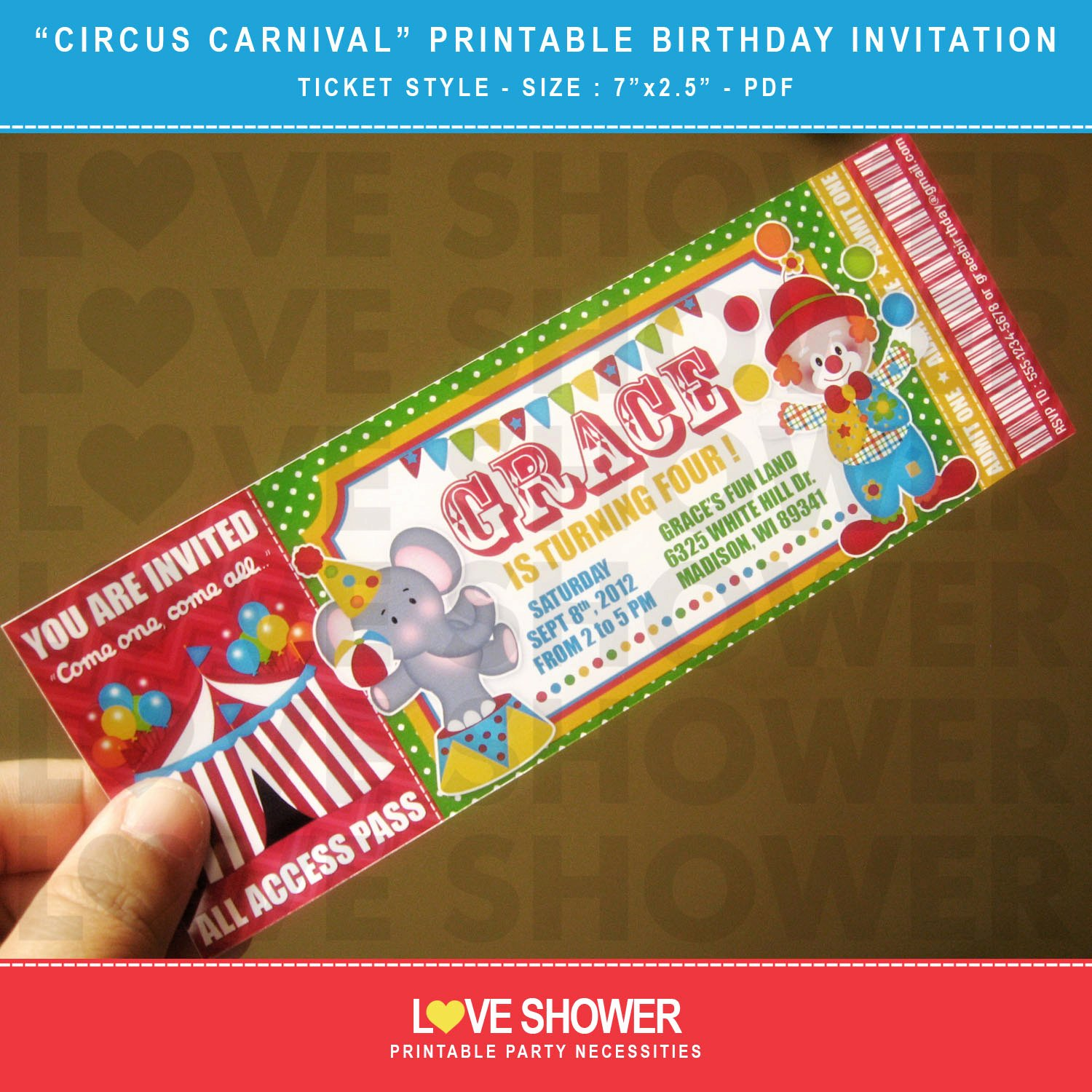 Carnival Ticket Birthday Invitations Awesome Circus Carnival Printable Birthday Invitation Ticket Style