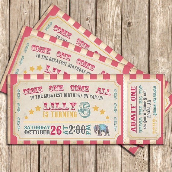 Carnival Ticket Birthday Invitations Beautiful Circus Birthday Invitation Girl Pink Circus Invitation