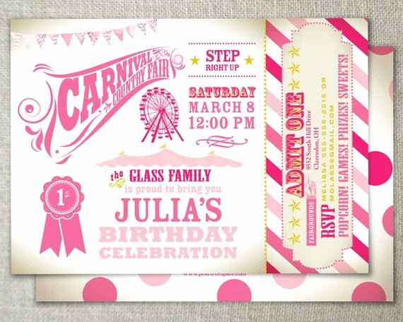 Carnival Ticket Birthday Invitations Beautiful Items Similar to Carnival theme Party with Admission