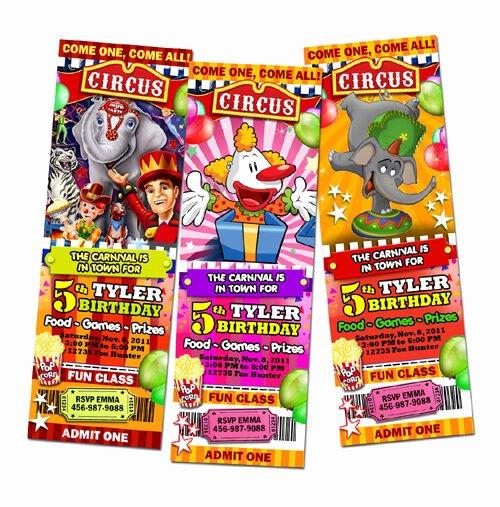 Carnival Ticket Birthday Invitations Best Of Circus Carnival Popcorn Birthday Party Invitation Ticket