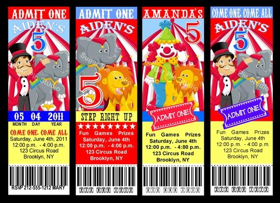 Carnival Ticket Birthday Invitations Best Of Circus Carnival theme Ticket Style Invitation Birthday Party