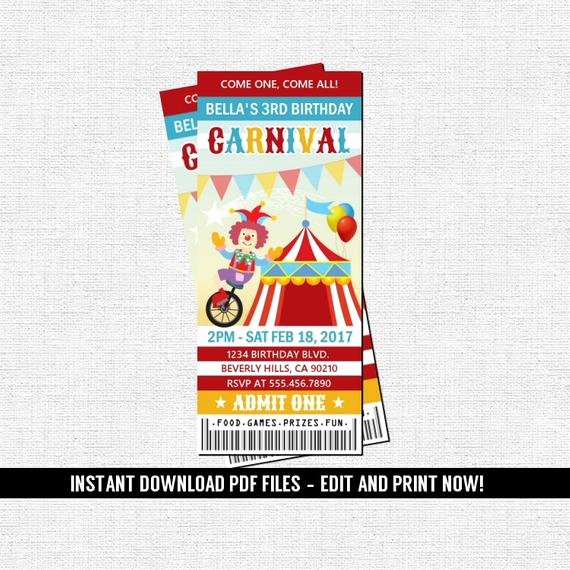 Carnival Ticket Birthday Invitations Elegant Carnival Ticket Invitation Birthday Party Circus Amusement