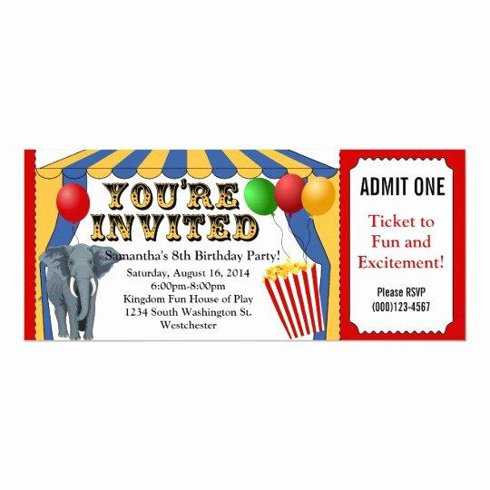 Carnival Ticket Birthday Invitations Inspirational Circus Carnival Ticket Custom Invitations