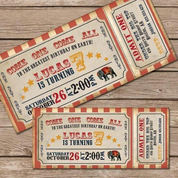 Carnival Ticket Birthday Invitations Inspirational Circus Invitation Vintage Circus Ticket by Littlemountaintop