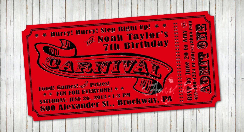 Carnival Ticket Birthday Invitations Lovely Carnival Ticket Invitation Printable