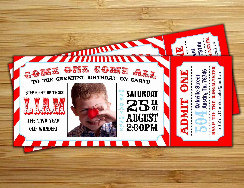 Carnival Ticket Birthday Invitations Lovely Circus Invitation Vintage Circus Birthday Invite