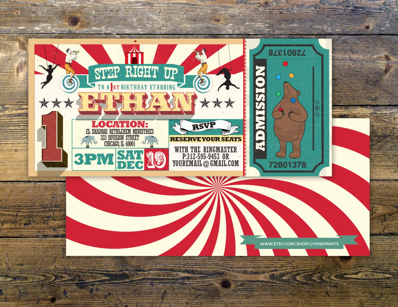 Carnival Ticket Birthday Invitations Lovely First Birthday Circus Ticket Carnival Ticket Invitation