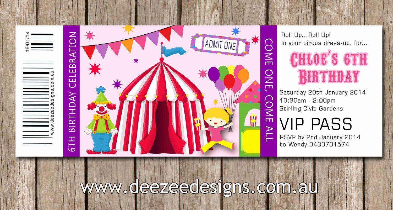 Carnival Ticket Birthday Invitations Lovely Ticket Style Circus Carnival Birthday Invitations You Print