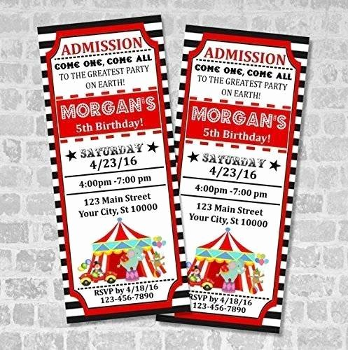 Carnival Ticket Birthday Invitations Luxury Amazon Circus Ticket Invitations Circus Carnival