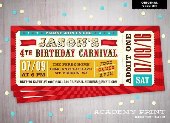 Carnival Ticket Birthday Invitations New Carnival Ticket Invitation Printable Children S Birthday