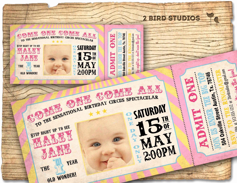 Carnival Ticket Birthday Invitations New Circus Invitation Girls Carnival Party Invitation by