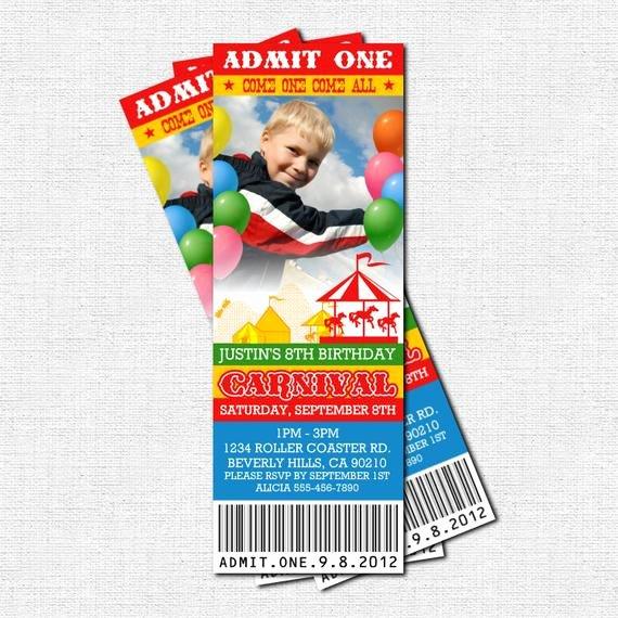Carnival Ticket Birthday Invitations Unique Carnival Ticket Invitations Circus Birthday Party by
