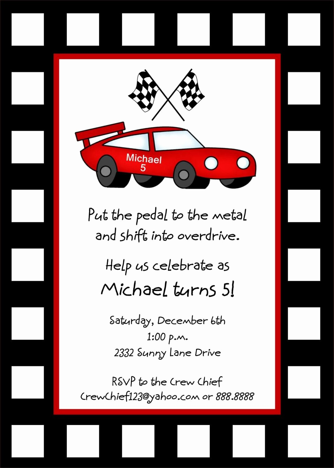 Cars Invitation Template Free Awesome Race Car Invitation Template Free