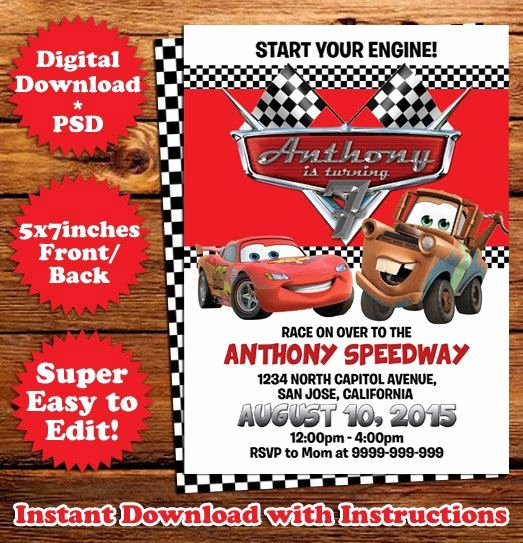 Cars Invitation Template Free Elegant Instant Download Disney Cars Movie Birthday Invitation