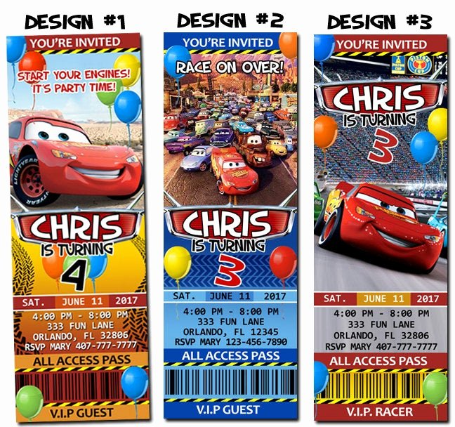 Cars Invitation Template Free Inspirational Disney Pixar Cars Lightning Mcqueen Birthday Party