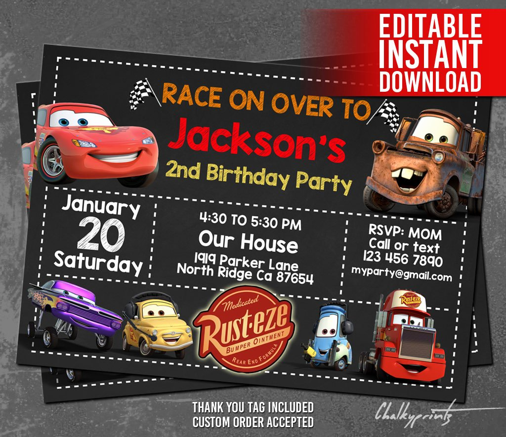 Cars Invitation Template Free New Disney Cars Invitation Instant Download Disney Cars