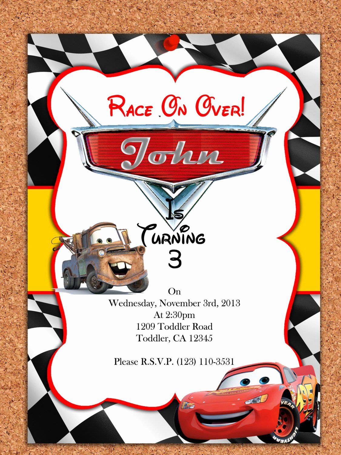 Cars Invitation Template Free Unique Cars Birthday Invitations Free