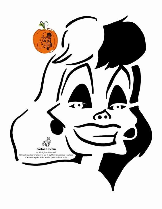 Cartoon Pumpkin Carving Patterns Lovely Classic Disney Pumpkin Stencils Cruella De Vil Disney