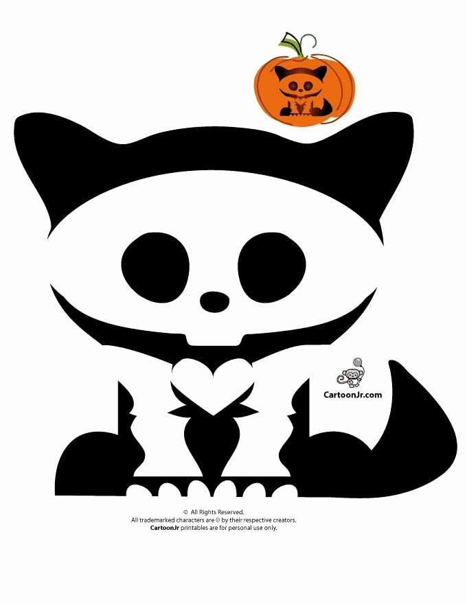 Cartoon Pumpkin Carving Patterns Luxury Skelanimals Pumpkin Templates Skelanimals Kitty Pumpkin