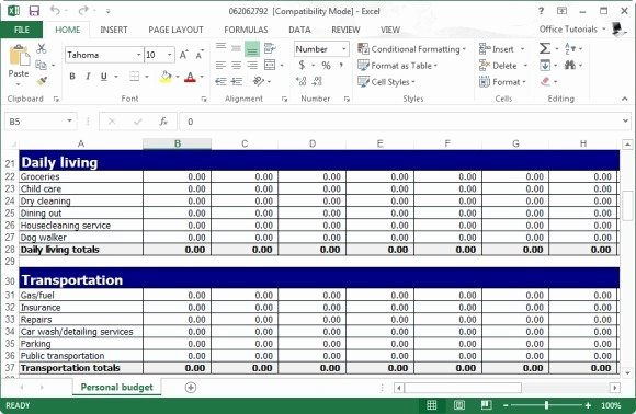 Cash Budget Template Excel Fresh Free Personal Bud Planner Template for Excel