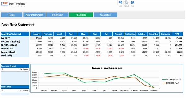 Cash Flow Template Excel Free Beautiful Cash Flow Accounts Payable Receivable Professional
